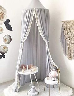 Gray LOAOL Kids Bed Canopy with Pom Pom Hanging Mosquito Net for Baby Crib Nook Castle Game Tent Nursery Play Room Decor