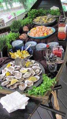 FOOD Bar/STATION Idea: SEAFOOD STATION! Classic Raw Bar with a Variety of Seafood + Lemon Wedges and Dipping Sauces!