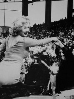 Marilyn as she appeared at a charity soccer match at Ebbets Field Stadium, Brooklyn, New York, May 12th 1957.