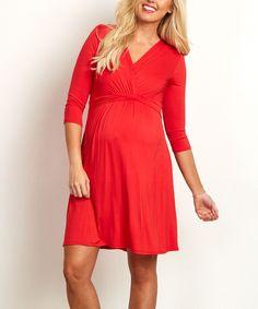 PinkBlush Red Surplice Maternity/Nursing Dress