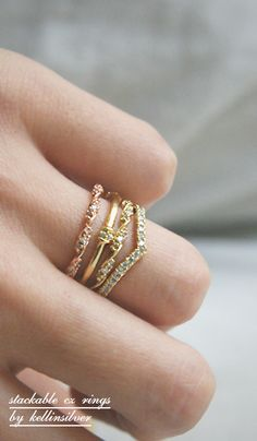 CZ Elegant Single Ribbon Ring Gold - kellinsilver.com