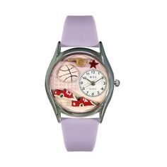 Volleyball Lavender Leather And Silvertone Watch