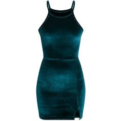 Aniqah Emerald Green Velvet Split Detail Bodycon Dress (€24) ❤ liked on Polyvore featuring dresses, blue cocktail dress, velvet bodycon dress, bodycon dress, blue color dress and emerald green velvet dress