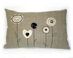 darling pillow with crochet accents