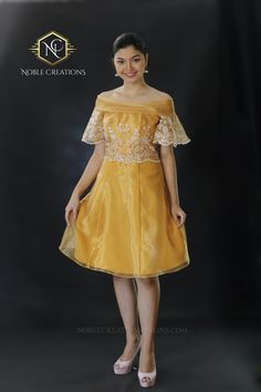 Showcase your unique Filipina elegance with this youthful dress. Embroidered traditional pattern on a silk and organza cloth. Modern Filipiniana Dress, Barong Tagalog, Filipino Fashion, Formal Dresses For Men, Off Shoulder Gown, Outfits 2016, Silk Organza, Embroidered Silk, Traditional Outfits