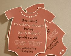 Printed Baby Shower Invitation with Envelopes | Printed Invites and Color Envelopes | Pink Invite