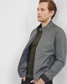 Mouliné bomber jacket - Grey   Jackets & Coats   Ted Baker UK