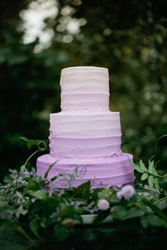 Lavender ombre wedding cake