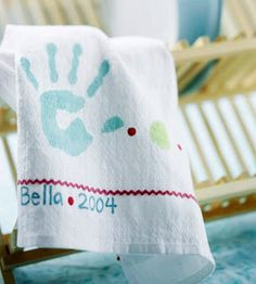 Hand print on a rag for Grandmas! Glamorous, Affordable Life