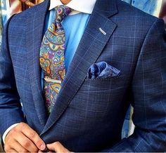 Men's navy blazer, Paisley tie