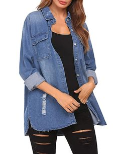 Opino Women Jean Jackets Long Sleeve Classic Ripped Denim Jacket Coats - best woman's fashion products designed to provide Ripped Denim, Jean Jackets, Womens Fashion, Fashion Trends, Jackets For Women, Coats, Woman, My Style, Classic
