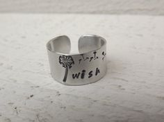 Wish hand stamped silver aluminum cuff ring free by Amayeli, $10.00