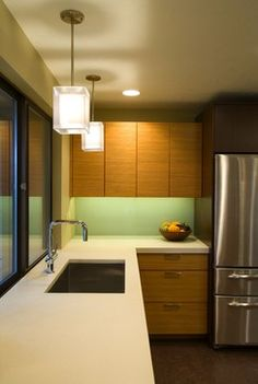 Undermount #sink And #square Pendants Fit Nicely In This #contemporary # Kitchen #
