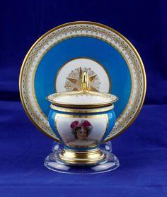 Antique Sevres French Porcelain Portrait Cup & Saucer signed Imp De Sevres 1805