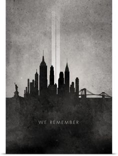 Circle Art Group Poster Print Wall Art Print entitled We Remember - 911 NYC minimalist skyline, None