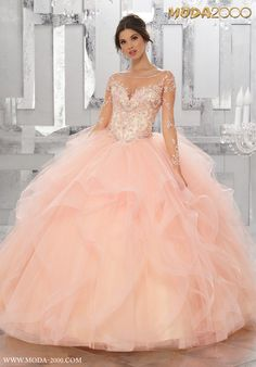 MODA 2000 PEACHY PINK MESH FLORAL SLEEVE QUINCEANERA DRESS! Follow us on instagram for daily updates @moda_2000