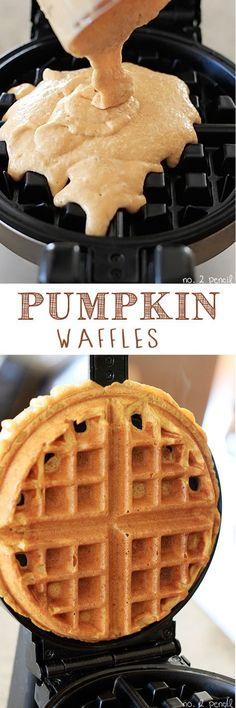 Pumpkin Waffles - crispy on the outside and tender and fluffy on the inside! Add some chocolate chips to these bad boys.... Mmmmmmmmmmmm!!