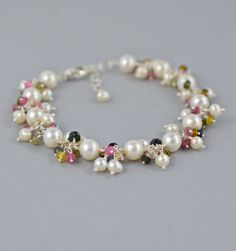 Pearl Bracelet with Tourmaline Gemstones, Artisan Jewelry, by BlueRoomGems, $189.00