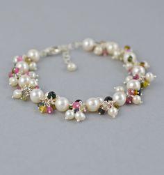 Pearl Bracelet with Tourmaline Gemstones, Artisan Jewelry, by BlueRoomGems, $189.00