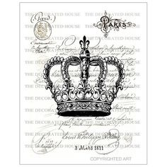 Vintage Crown Art Print. French Paris. 8 x 10 inch  Handmade Art  by  The Decorated House