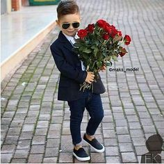 roses are bloom for the little boy with a formal outfit Little Boy Outfits, Little Boy Fashion, Toddler Boy Outfits, Baby Boy Fashion, Toddler Fashion, Kids Fashion, Cute Baby Boy, Baby Kind, Baby Boys