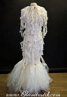 Size Small Petite Ivory Burlesque zombie Mummy by Glamtastik, $415.00