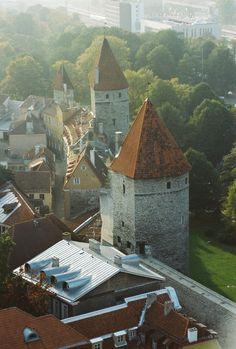 View from Oleviste Kirik on part of the surrounding wall of Vana Tallinn