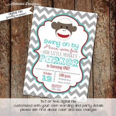 first birthday invitations with sock monkeys, boy or girl digital, printable file (item 267) baby shower invite