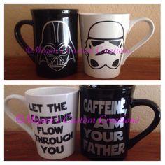 A personal favorite from my Etsy shop https://www.etsy.com/listing/258714746/14-oz-star-wars-coffee-mug-set
