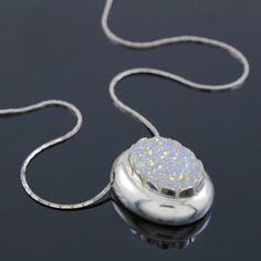 565781ef4fb1 Silver Sparkling Druzy Necklace. Adam Michael Jewelry