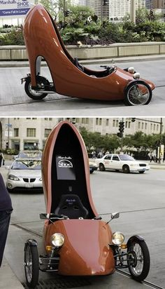 This is for all the ladies who are skeptical about a riding/driving a motorcycle.The Shoe Motorcycle! This is for all the ladies who are skeptical about a riding/driving a motorcycle.The Shoe Motorcycle! Funny Looking Cars, Funny Cars, Carros Lamborghini, Weird Cars, Unique Cars, Sweet Cars, Car Humor, Tricycle, Amazing Cars