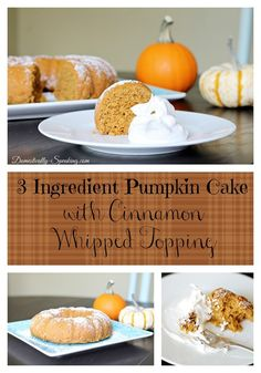 3 Ingredient Pumpkin Spice Cake made with Greek Yogurt and topped with Cinnamon Whipped Topping #fallrecipe #pumpkin #greekyogurt