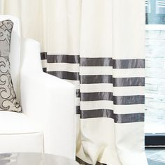 The Linen Hotel Drape in Eggshell with Pewter Banding