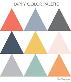 Happy color palette – gray coral navy gold orange dusty blue rose – All For Decoration Apartment Color Schemes, Room Color Schemes, Color Schemes With Gray, Orange Color Combinations, Paint Combinations, Interior Colour Schemes, Accent Colors For Gray, Color Schemes Design, Modern Color Schemes