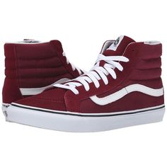 Vans SK8-Hi Slim (Windor Wine) Skate Shoes ($65) ❤ liked on Polyvore featuring shoes, sneakers, vans, vans shoes, high top skate shoes, vans high tops, leather sneakers and hi tops