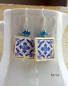 Portugal Blue Antique Azulejo Tile Replica 925 SILVER by Atrio