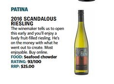 2016 Patina Scandalous Riesling from the cool climate or Orange in NSW RATING: from Peter Chapman Scandal, Wines, Orange