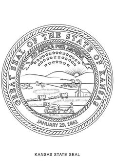 Kansas State Seal coloring page from Kansas category. Select from 24659 printable crafts of cartoons, nature, animals, Bible and many more.