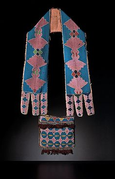 """Delaware Beaded Bandolier, applique stitch with seed beads (13/0) in colors of rose, greasy yellow, pony trader blue, white, pea green, red white-heart, and cobalt. , length 33"""" x width of pouch 9.25"""".  """"Indian bag, ort Gibson, I. Territory, 1875. Sold: $41,125.00, Cowans. http://www.cowanauctions.com/auctions/item.aspx?id=63972"""