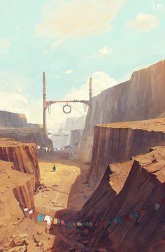 Pèlerinage - Rakugaki ! ( JSM + Sambour ) #fantasy #environment #exterior #canyon