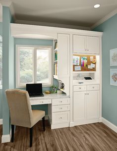 A Desk, Charging Station and Message Board give everybody a communications center. The desk area can also serve as a mini office. (KraftMaid cabinets in Dove White) Office Cabinet Design, Home Office Cabinets, Kitchen Cabinets, Bathroom Cabinetry, Kitchen Counters, Home Office Space, Home Office Desks, Office Rug, Home Office Storage