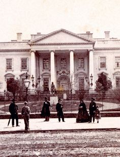 A detail of a stereograph with a North Lawn view from the 1860s. For nearly twenty seven years, the David statue was a prominent fixture on the north side of the White House.