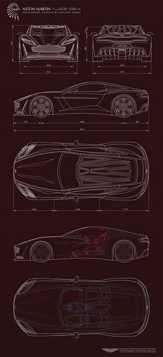 Aston Martin VIE GH Anniversary 100 concept car schematic drawing