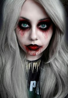 Red & black eyes with blood from the mouth