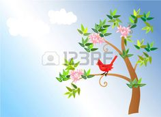 cardinal bird: vector illustration of a spring blossom tree with cardinal bird