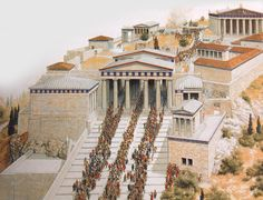Throngs make their way up the causeway to the Acropolis in this artistic imagining of the Panathenaic Procession. ImageCourtesy of Yale University Press Ancient Greek Architecture, Classical Architecture, Historical Architecture, Architecture Art, Ancient World History, Greek History, European History, American History, Roman History