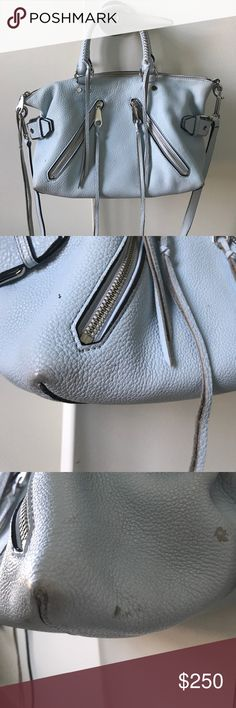 """☃️Rebecca Minkoff """"bleached blue"""" moto satchel Authentic Rebecca Minkoff moto satchel in color: bleached blue. Gentle wear in small areas shown in photos. Handles are perfect. the two zips in the front are usable decent sized pockets too (great for keeping your phone, lipstick, cards, or other small items for easy access). This bag is edgy, absolutely fun and awesome. You'll love this bag! :) Rebecca Minkoff Bags Satchels"""
