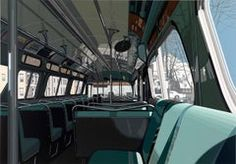artnet Galleries: Urban Landscapes III: Bus Interior by Richard Estes from Russell Tether Fine Art Landscape Prints, Urban Landscape, Illinois, Bus Drawing, Bus Interior, New York Harbor, Whitney Museum, Best Portraits, Spanish Artists