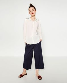 Image 1 of BLOUSE WITH SEQUINNED YOKE from Zara