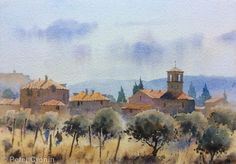 A Tuscan Village, Peter Cronin Joseph Zbukvic, Watercolor Landscape, Scene, Pure Products, Art Work, Painting, Artists, Image, Watercolors
